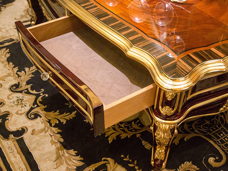 James Bond classical coffee table furniture 14k gold and solid wood with piano resin paint A tank barrels D2789-3