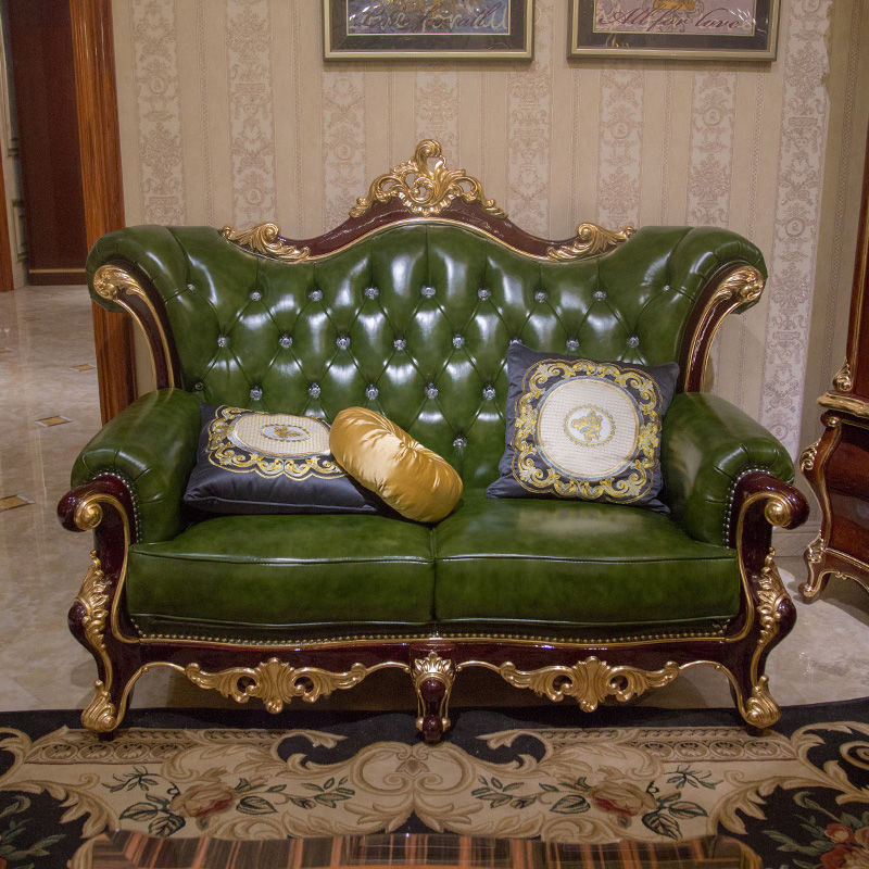 James Bond Traditional classic sofa funiture 14k gold and solid wood deep green JF508