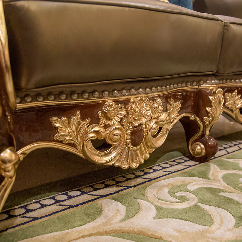 James Bond Classic sofa furniture 14k gold and solid wood light brown A2820