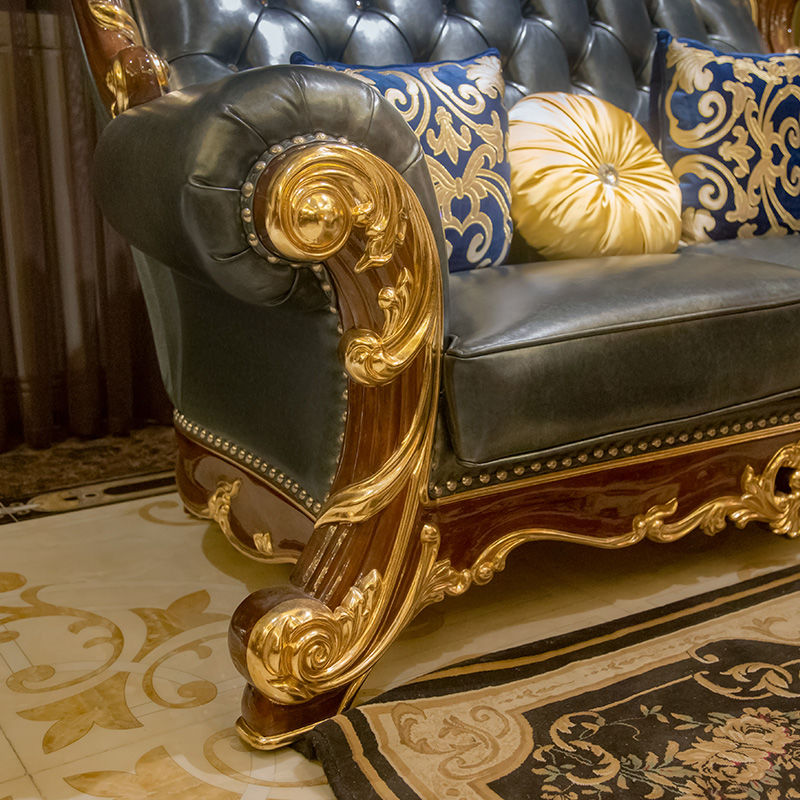 James Bond Classic sofa design 14k gold and solid Sea blue A2825
