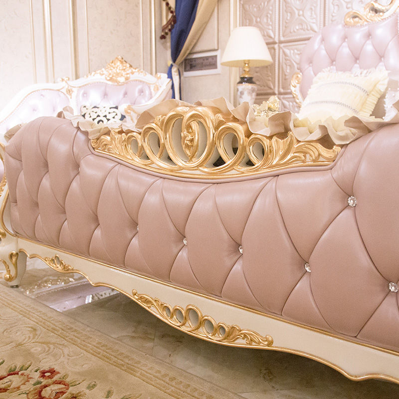 James Bond Classic style bed furniture 14k gold and solid wood Pink/Brown/white JF264