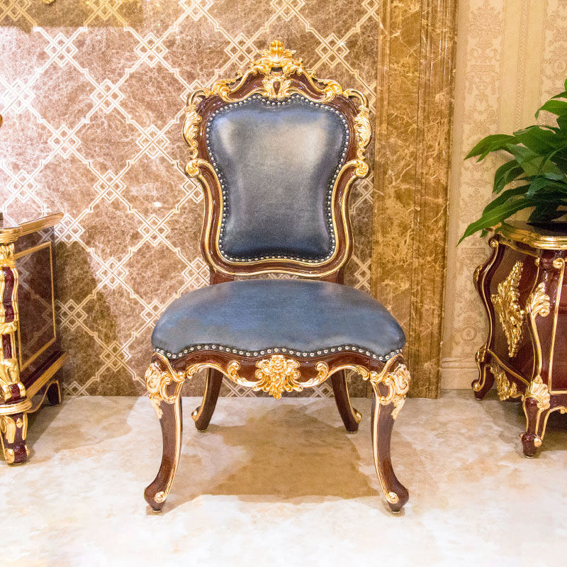 James Bond classic dining chair 14k gold and solid wood Deep blue JP698