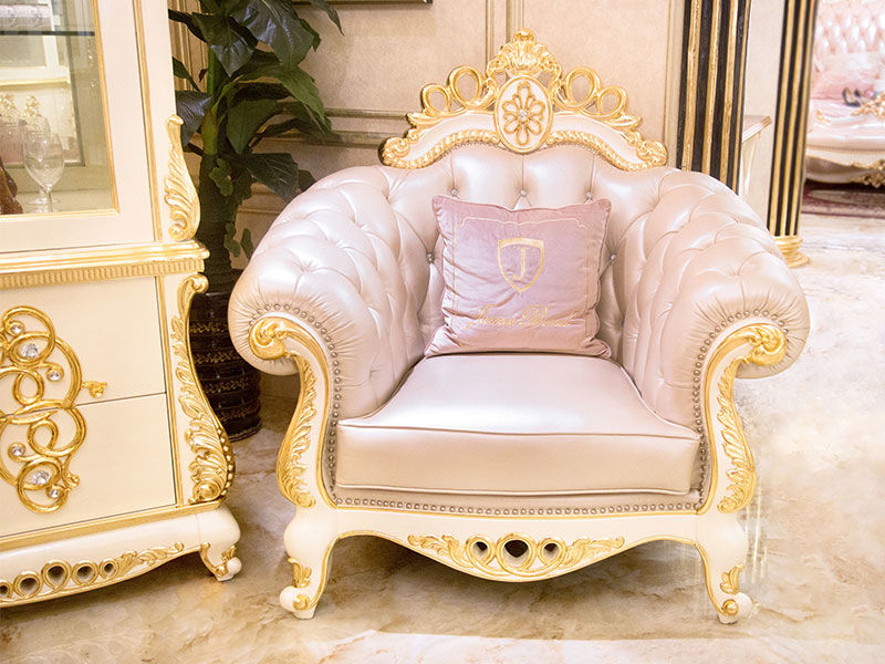 James Bond classical sofa styles 14k gold and solid Brown /off-white JF245
