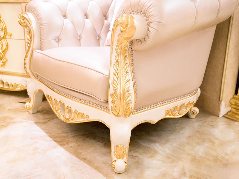 James Bond classical sofa styles 14k gold and solid Brown /off-white JF245-4