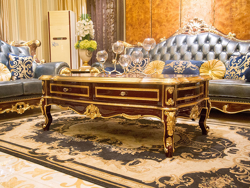 James Bond classical coffee table furniture 14k gold and solid wood with piano resin paint A tank barrels D2789