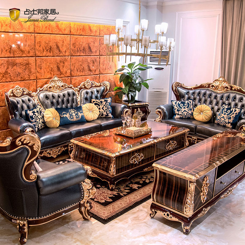 James Bond Classic chesterfield sofa design 14k gold and solid Deep blue A2815