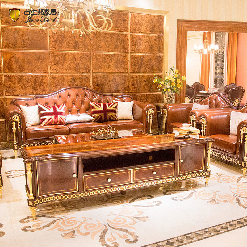 James Bond Classic chesterfield style sofa furniture 14k gold and British style Bright coffee A2821