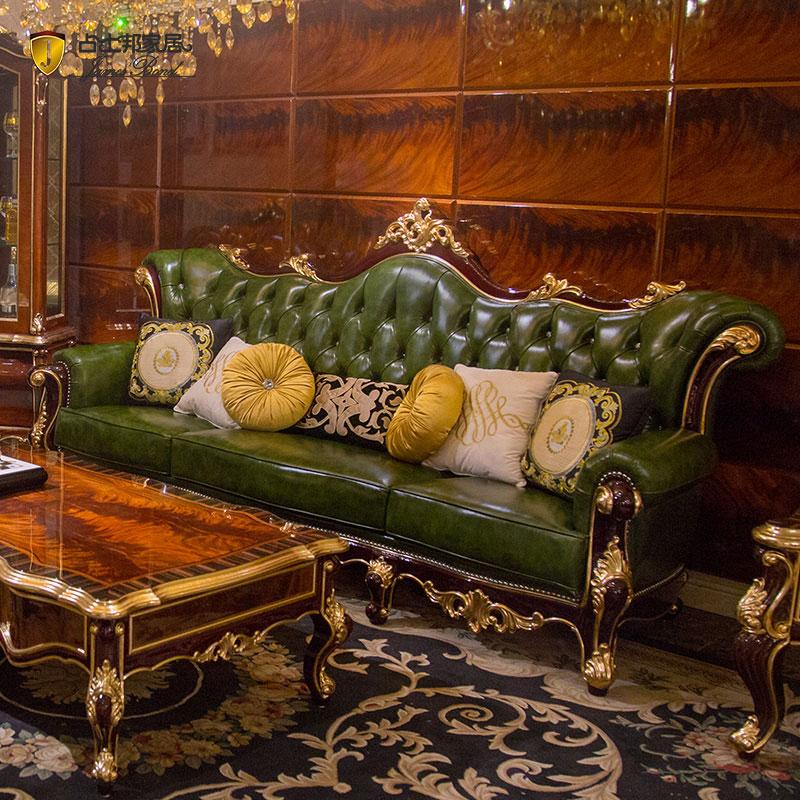Set sofa klasik reka bentuk mewah gaya emas 14k dan kayu solid JF508 hijau pekat
