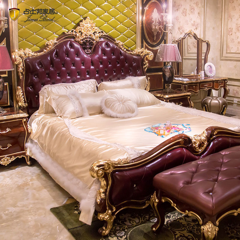 James Bond Classic bed Italian bedroom furniture14k gold and solid wood purple JP659