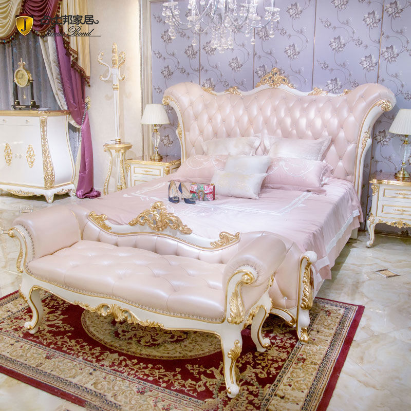 James Bond Classic bed designs 14k gold and solid wood Pink/ Brown/White/ Grey JF515
