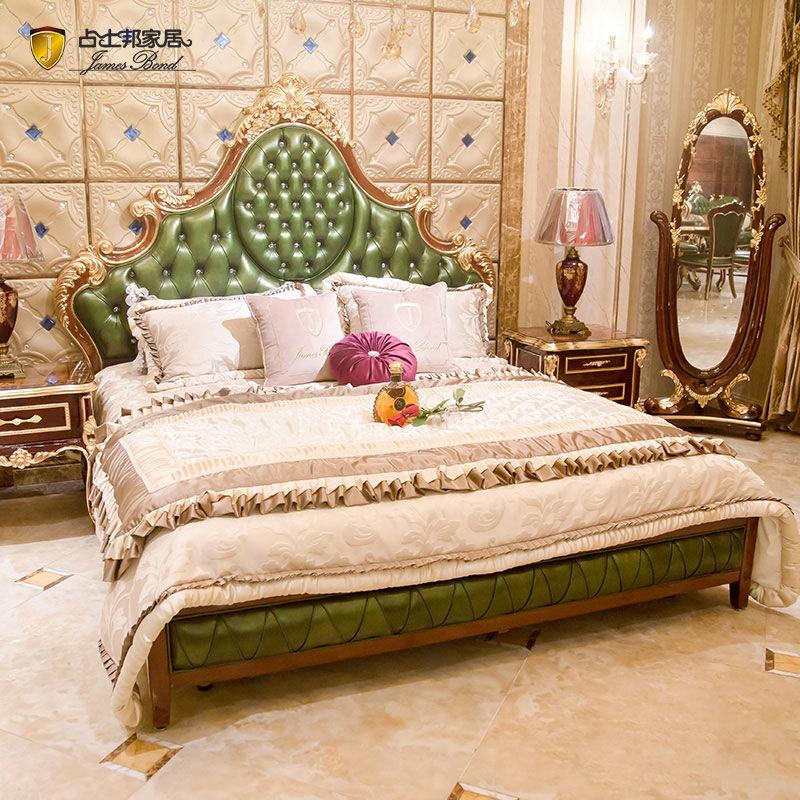 James Bond Classic modern bed design 14k gold and solid wood Deep green JP623