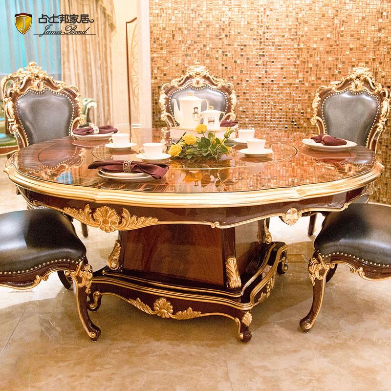 Klasický jedálenský stôl guľatý klasický jedálenský nábytok hnedý JF16-A