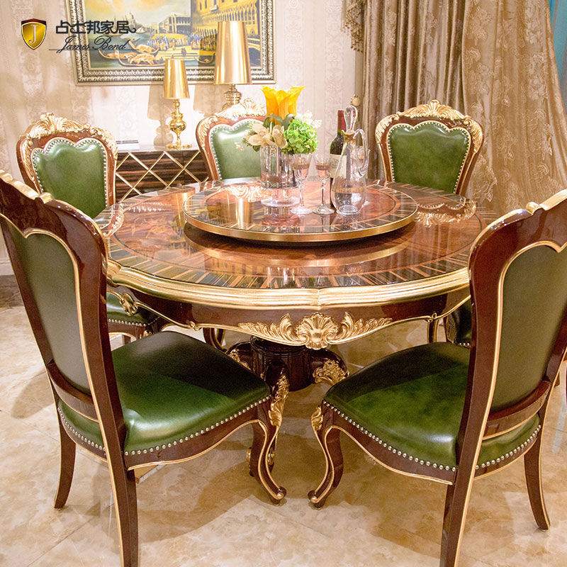 James Bond Classic round table with solid wood piano paint brown JP657