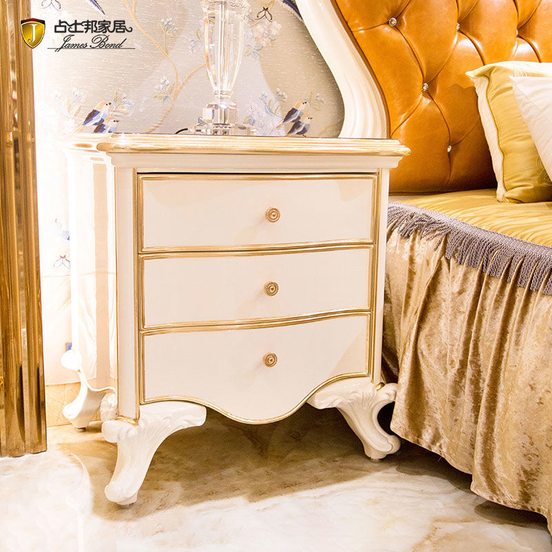 James Bond  Classic bedside table designs 14k gold and solid wood  JP651(White)