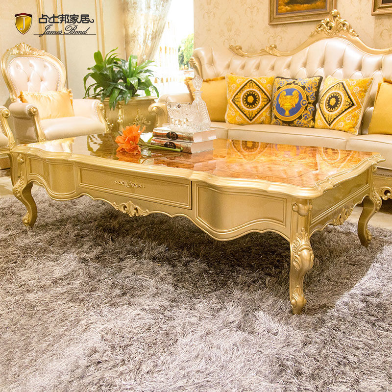 James Bond Classic coffee table/ end table 14k gold and solid wood with piano resin paint Wood grain color /Brown JF513