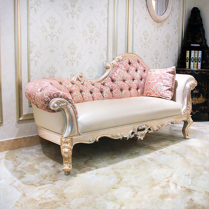 Classic chaise longue design rose gold and solid wood E193 James Bond