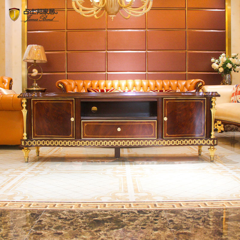 James Bond Classic TV cabinet design 14k gold and solid wood JP665