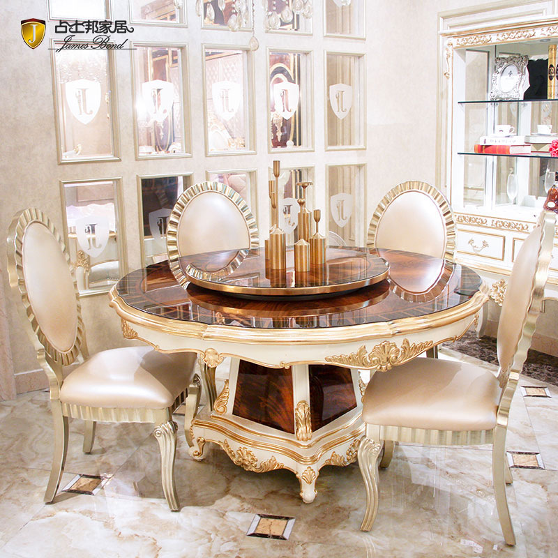 Klassisk rundt spisebord og massivt træ med fabrikant af pianoharpiksmaling hvidt spisebord