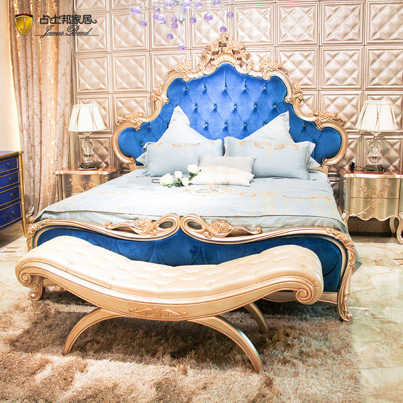 James Bond Classic bed furniture design 14k gold and solid wood Blue velvet JP644