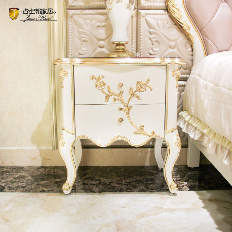 James Bond Classic bedside table 14k gold and solid wood JP615 (White)