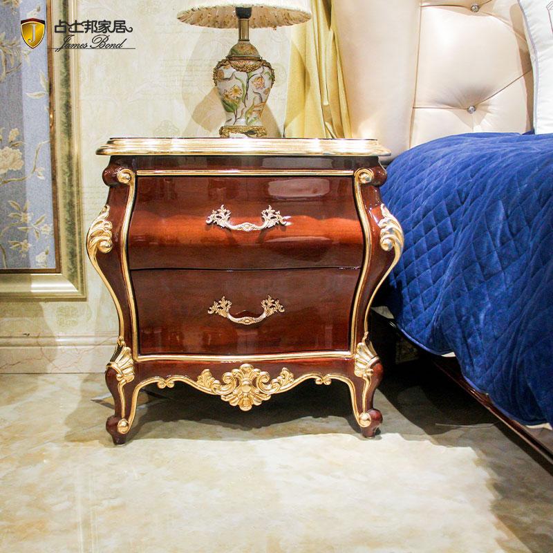 طاولة سرير كلاسيكية تقليدية من الذهب عيار 14 والخشب الصلب JF09
