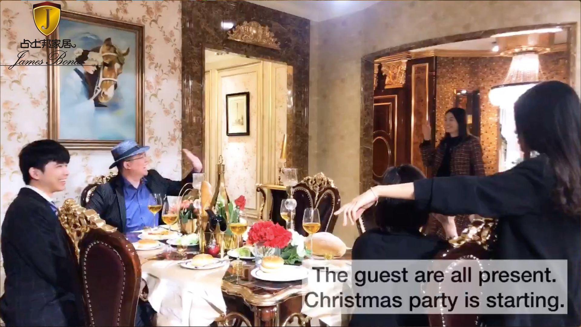 Amazing Christmas feast on James Bond classic dining set.