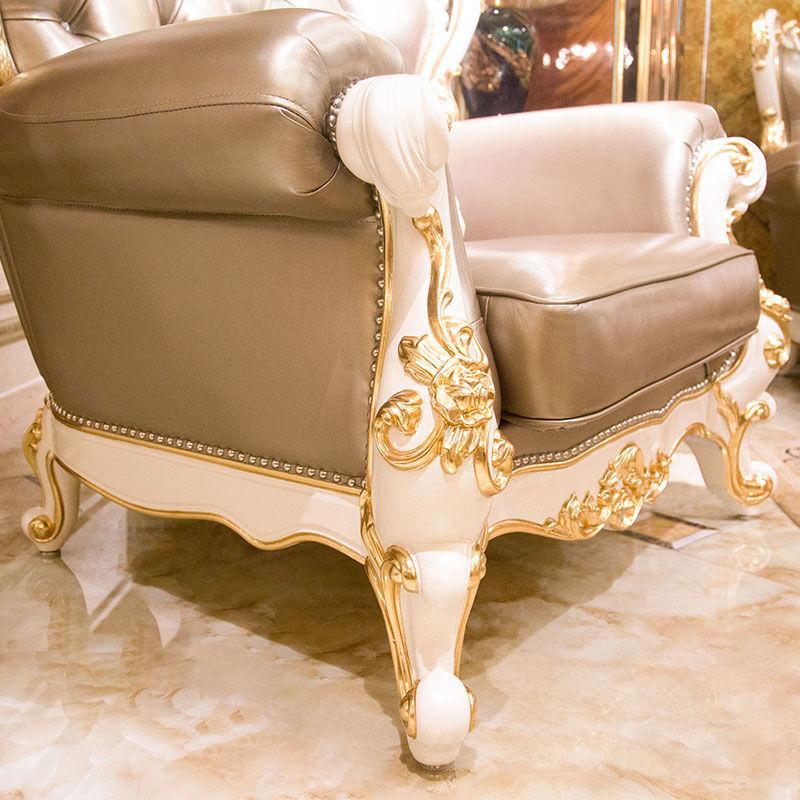 James Bond Classic luxury italian sofa furniture 14k gold and solid wood Light grey   A2803