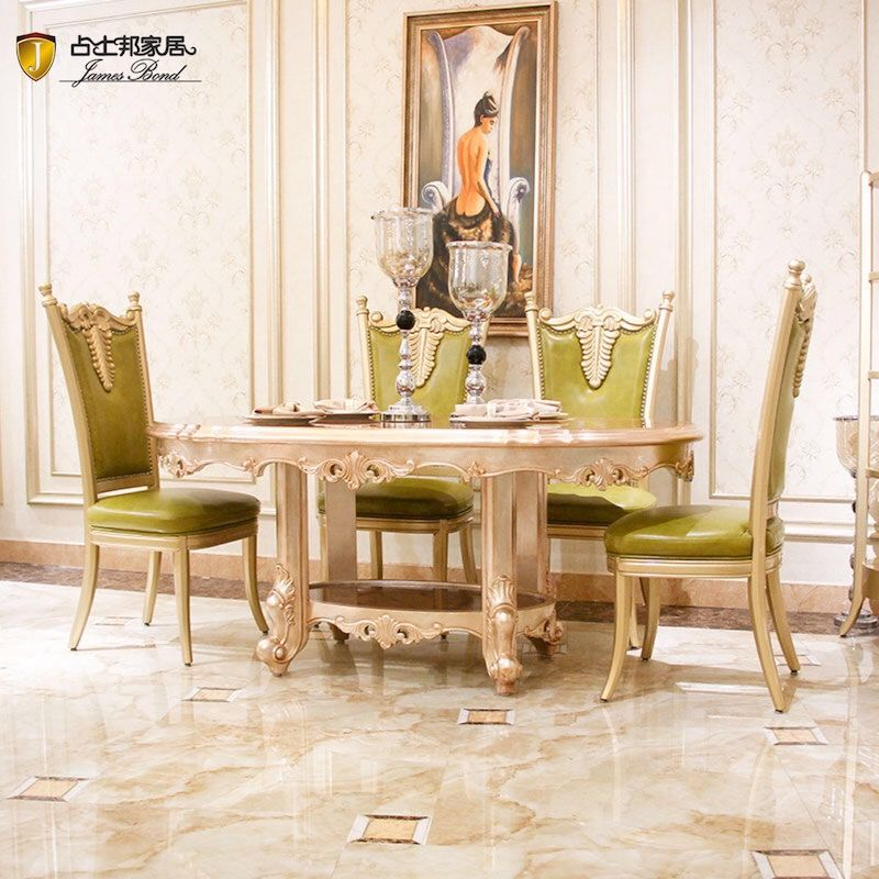 James Bond Classic oval dining table and solid wood with piano resin paint golden JF519