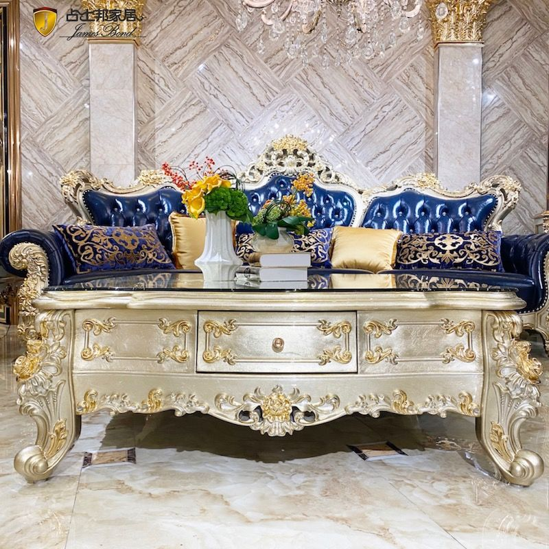 Classic luxury furniture Finely hand-carved luxury square coffee table JP709
