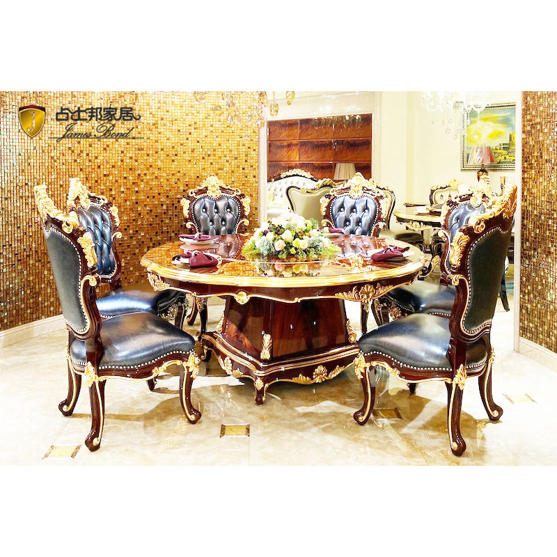 James Bond Classic round dining table and solid wood with piano resin paint BROWN JF16-A