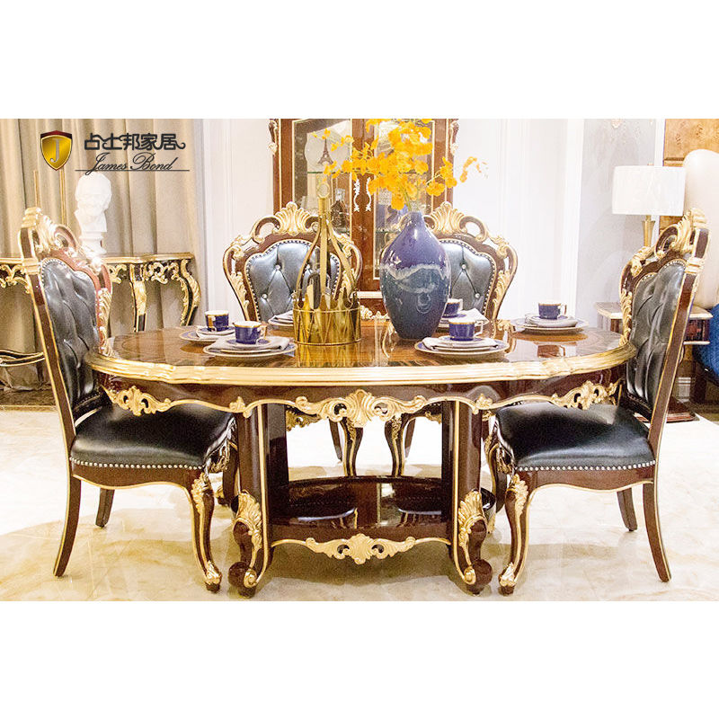 James Bond Classic oval dining table and solid wood with piano resin paint BROWN/ SILVER JF519