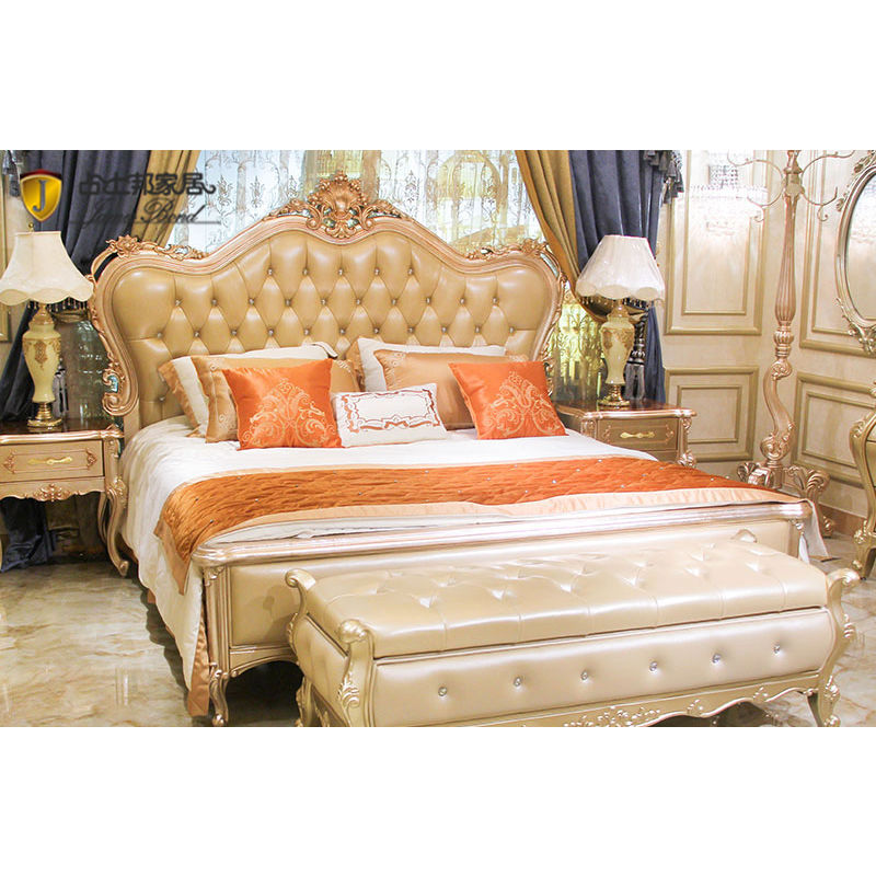 Italian classic bed design 14k gold and solid wood  champagne JP632 James Bond