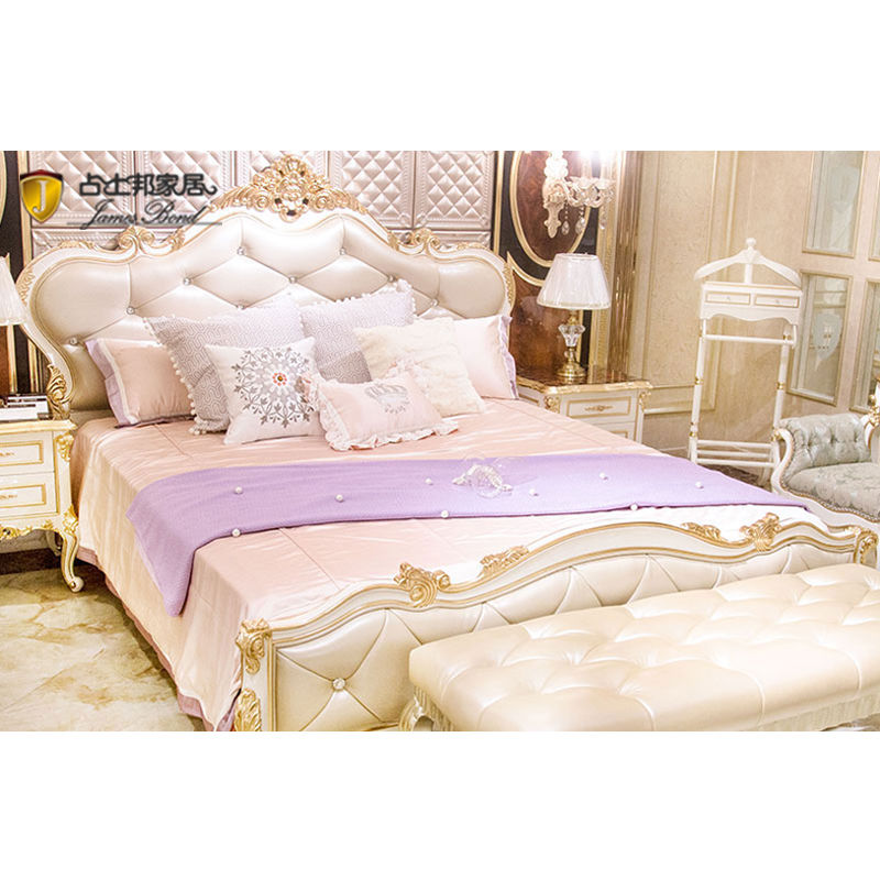 James Bond Classic Italian bed furniture14k gold and solid wood White / Light brown/ Light grey F110