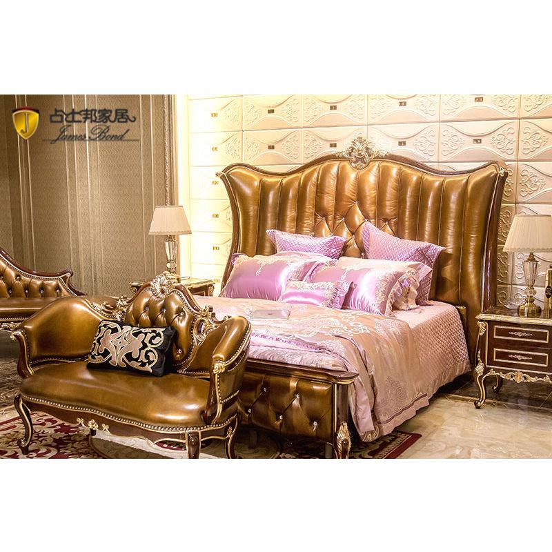 James Bond Classic bed design 14k gold and solid wood Light brown JP675
