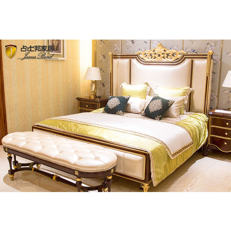 James Bond Classic bedroom bed furture 14k gold and solid wood White JP660