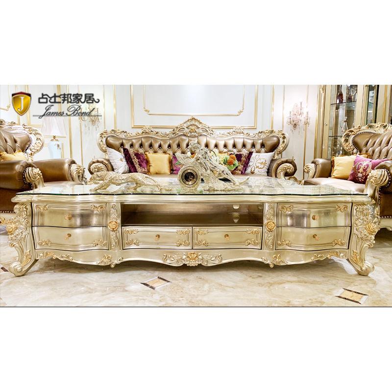 Royal Furniture hand-carved - Luxury two color gold foil TV cabinet JP708