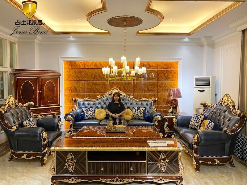 James Bond Classic sofa design 14k gold and solid Sea blue A2825