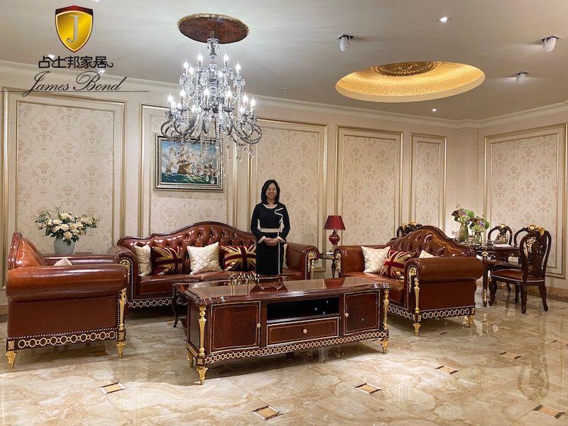 James Bond Classic sofa design 14k gold and British style Bright coffee A2821