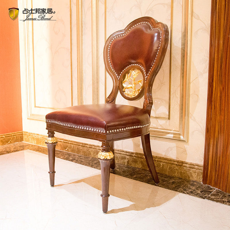 James Bond classic dining chair 14k gold and solid wood Wine red JP656