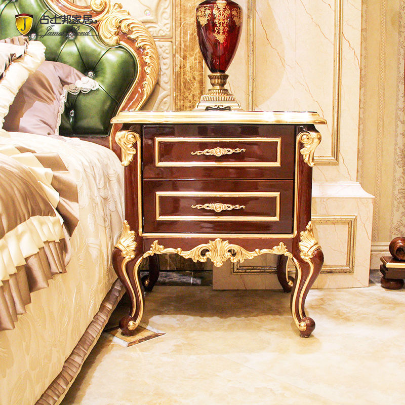 James Bond Classic bedside table 14k gold and solid wood JP625 (Brown)
