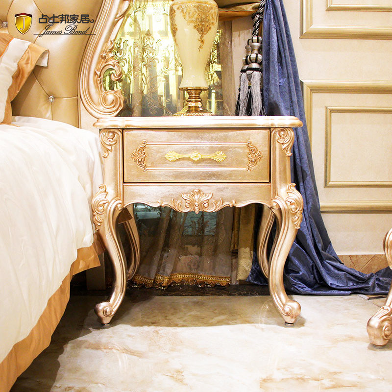 Classic bedside table 14k gold and solid wood JP614 James Bond(Champagne)