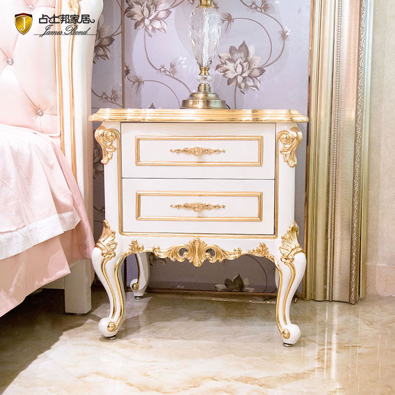 James Bond  Classic bedside table 14k gold and solid wood  JP625 (White)