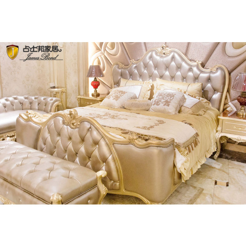 James Bond classic solid wood bed Silver grey/ Robin egg blue / Light Brown/  JF518