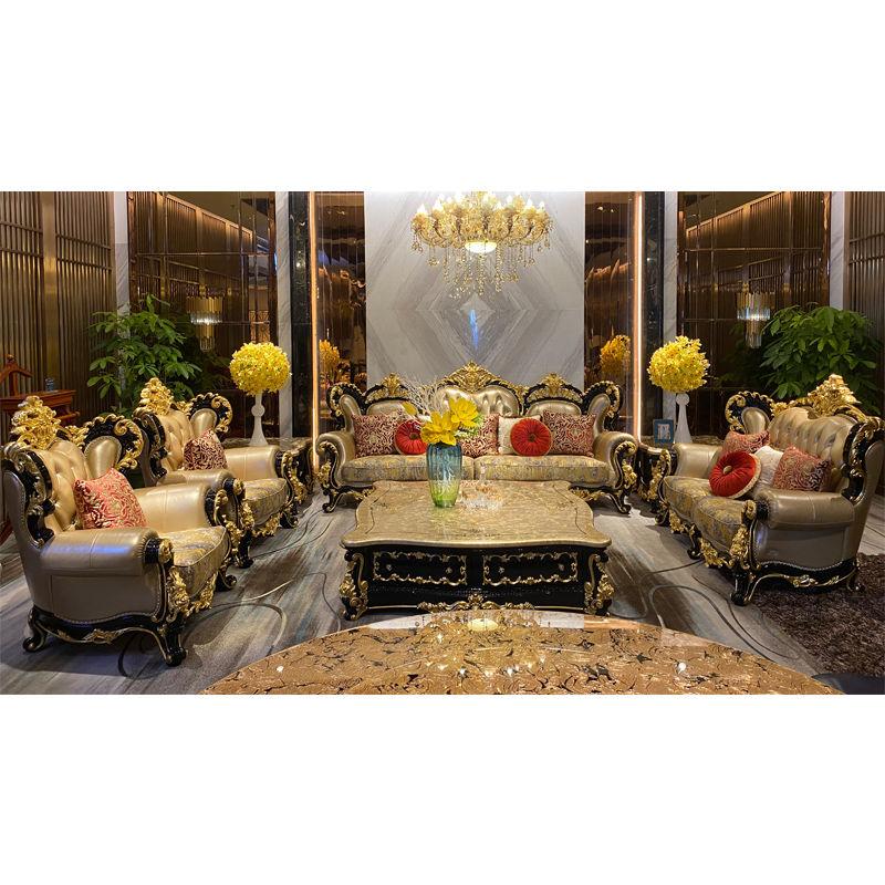 Luxury furniture handmade gold leaf classic sofa DS075(F905)