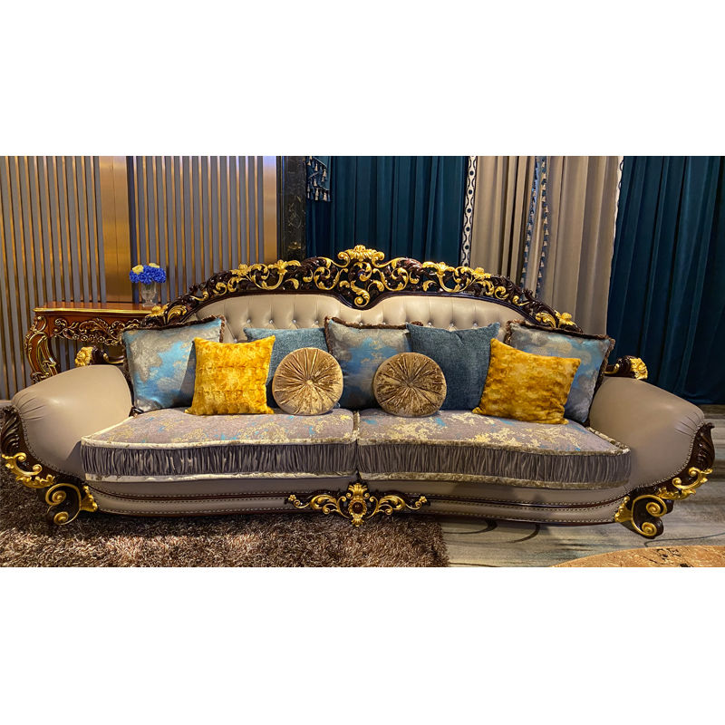 Italian furniture hand-carved hand-pasted gold leaf luxury classic sofa DS205