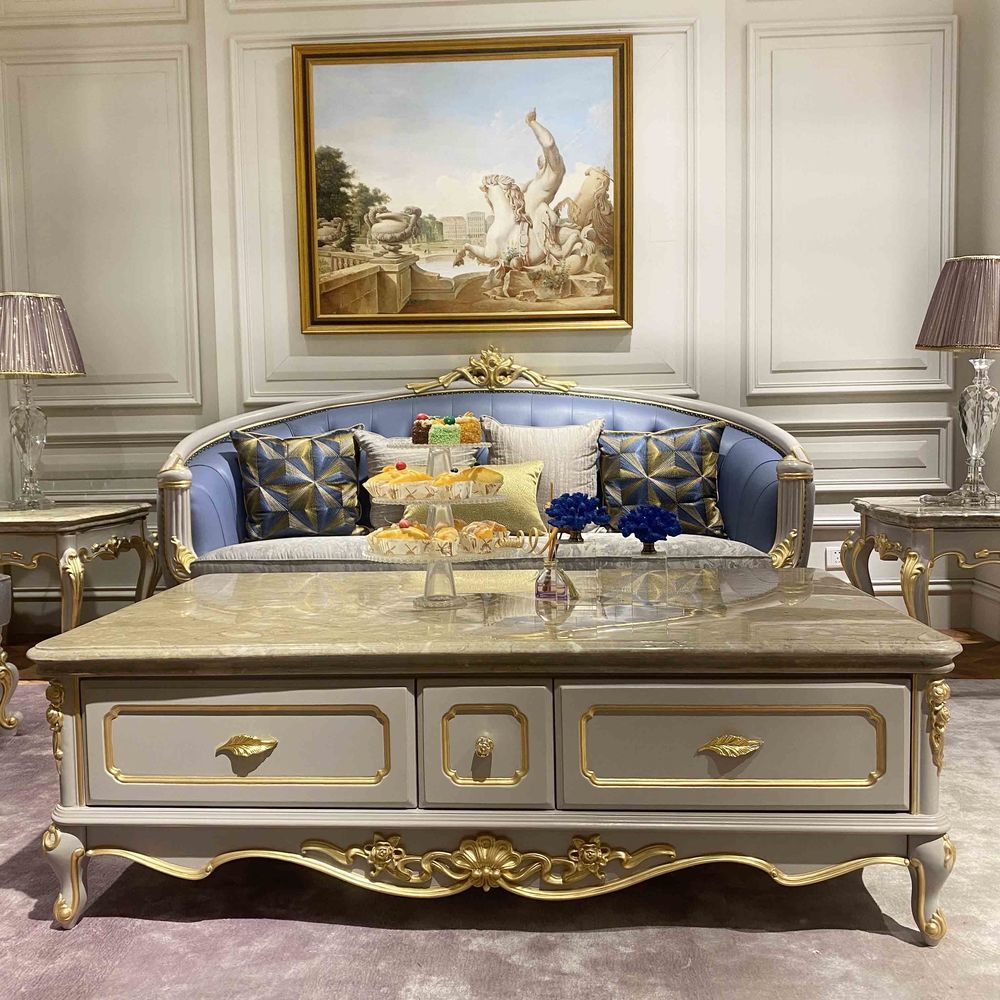Elegant classic coffee table with marble top R-933a-1