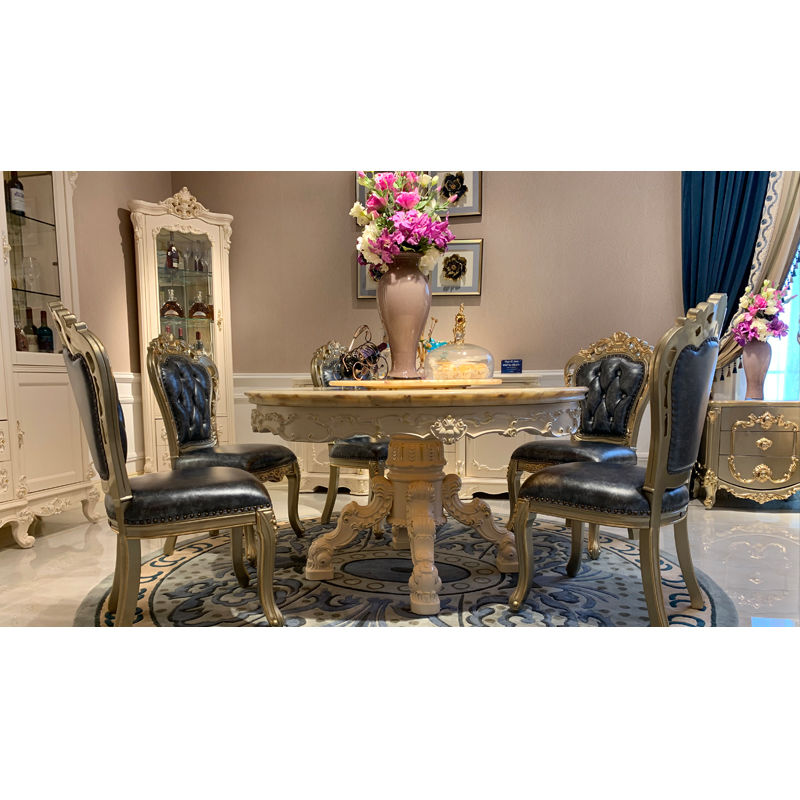 Italian living room furniture marble solid wood classic dining table