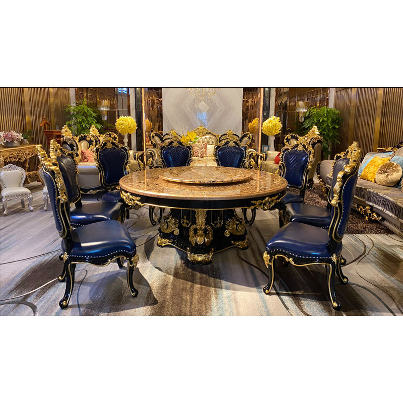 Royal furniture Super luxury gold foil classic dining table T-3313-1