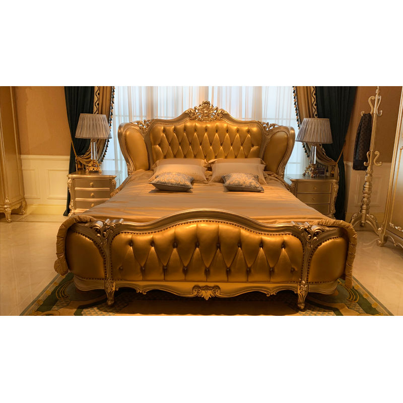 New classic furniture classic Bed made of Italian leather H-3326