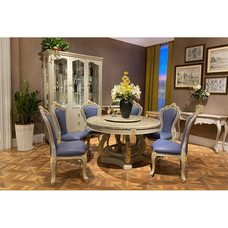 Classic dining room classic dining table with marble top T-3320a-1